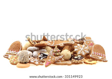 traditional czech christmas cookies isolated on the white background - stock photo