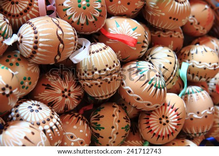 traditional czech easter eggs as holiday background - stock photo