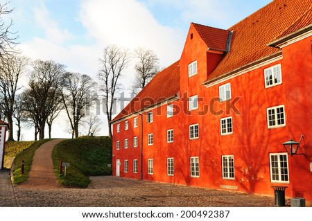 Traditional Danish building in the Kastellet, important architectural complex in Copenhagen, Denmark - stock photo