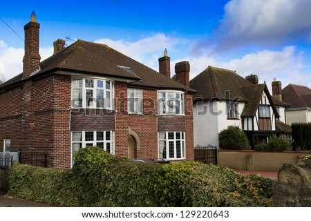 Traditional detached houses in Swindon, UK - stock photo