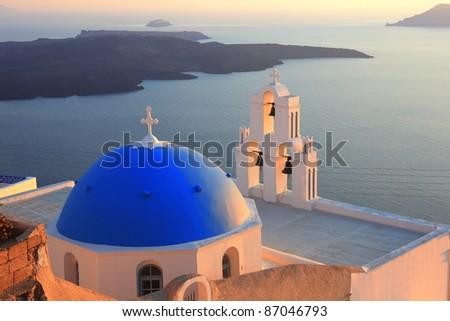 traditional dome and church bell at Santorini, Greece - stock photo