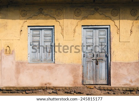 Traditional Door and Window at Chand Baori Stepwell in Jaipur, Rajasthan, India.  - stock photo