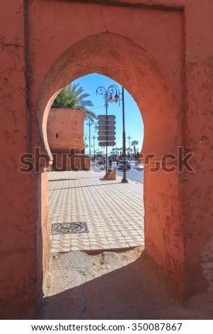 Traditional door in Morocco - stock photo