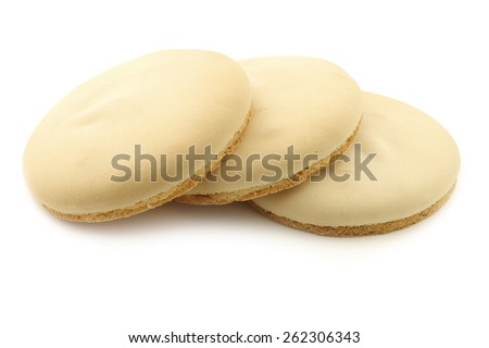 "traditional Dutch (Frisian) cookie called ""Friese theekoek"" on a white background - stock photo"