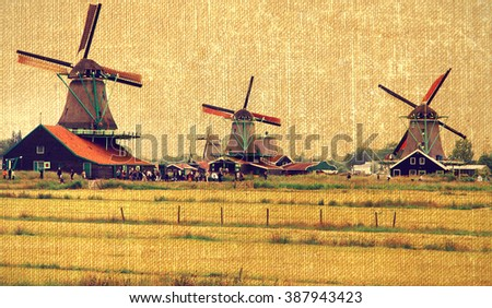 Traditional Dutch windmills. Zaanse Schans. Holland. - stock photo