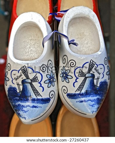 traditional dutch wooden  delft blue - stock photo
