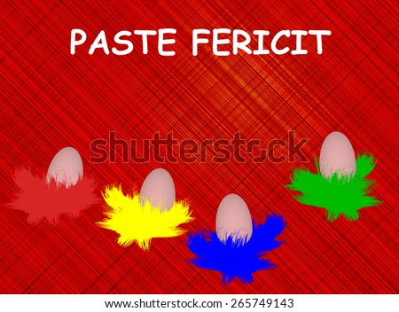 "Traditional Easter eggs ,traditional colors. Romanian Easter greeting"" Paste Fericit ! "" - "" Happy Easter"" background illustration. - stock photo"