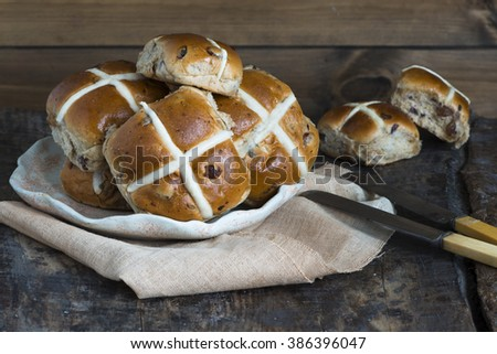 Traditional Easter hot cross buns - stock photo