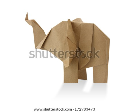 traditional elephant origami from recycled paper - stock photo