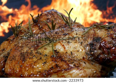 Traditional English wine marinade roast by romantic fire, conceptual sunday or xmas lunch macro close up - stock photo