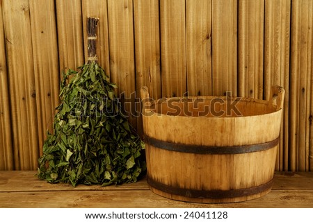 Traditional equipment for Russian bath from wood - stock photo