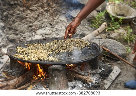 Traditional Ethiopian coffee beans roasting - stock photo