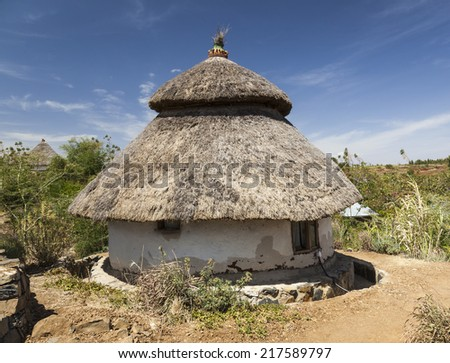 Traditional Ethiopian house. Karat Konso. Ethiopia. - stock photo