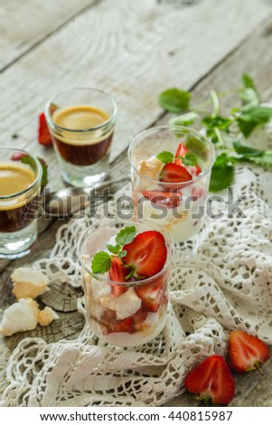 Traditional eton mess with strawberry - stock photo