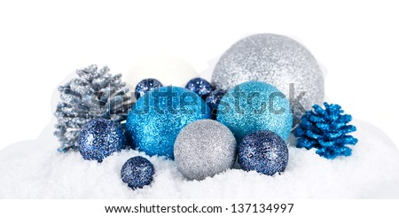 traditional festive christmas decoration glitter in silver and blue - stock photo
