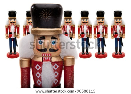 Traditional Figurine Christmas Nutcracker General With His Army Of Nutcracker Soldiers - stock photo