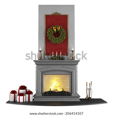 Traditional fireplace with Christmas decorations isolated on white - rendering  - stock photo