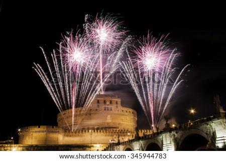 Traditional fireworks show over Castel Sant' Angelo in Rome, Italy, during the traditional show staged on the occasion of the Feast of Saints Peter and Paul on 29 June - stock photo
