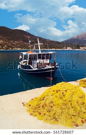 Traditional fishing boat at Lefkada island, Greece - stock photo