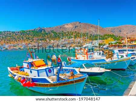 traditional fishing boats at Kalymnos island in Greece - stock photo