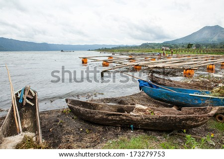 Traditional fishing boats on a beach on Bali. Indonesia. - stock photo