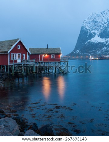 Traditional fishing cabins, Reine, Lofoten, Norway - stock photo