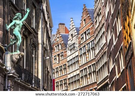 Traditional flemish architecture in Antwerpen city. Belgium - stock photo