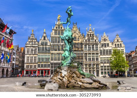 Traditional flemish architecture in Belgium - Antwerpen city - stock photo