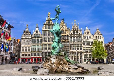 Traditional flemish architecture in Belgium - Antwerpen city - stock photo