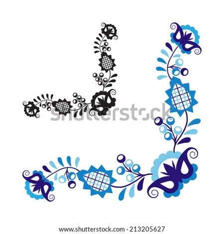 Traditional folk ornament and pattern isolated on white background (Vector version is also available in my portfolio, ID 169814183) - stock photo