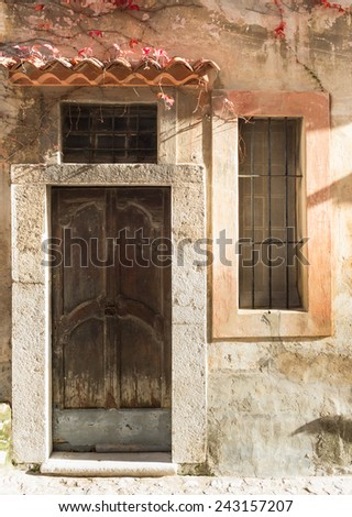 Traditional french architecture in the village of Eze, south of France - stock photo