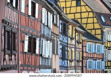 Traditional French houses in Colmar - stock photo