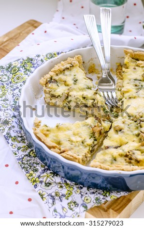 Traditional french quiche pie with chicken and mushroom on a plate - stock photo