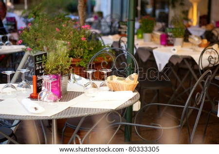 Traditional French street cafe - stock photo