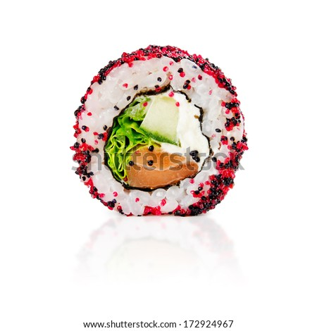 traditional fresh japanese sushi rolls on a white background - stock photo