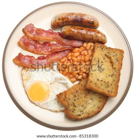 Traditional full English fried breakfast. - stock photo