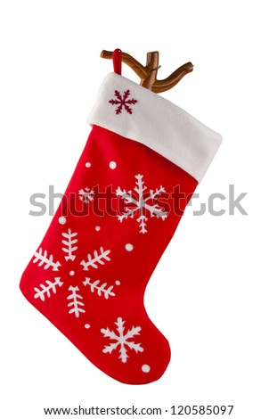 Traditional fur red Christmas stocking. Isolated on white. - stock photo