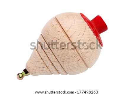 Traditional game, a wooden  top isolated on white background  - stock photo