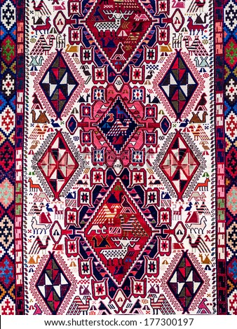 Traditional Georgian carpet. Carpets with typical geometrical patterns are among the most famous products of Georgia. - stock photo