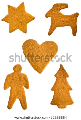 Traditional gingerbread cookies - stock photo