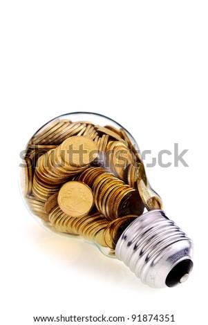 Traditional glass bulb and energy savings - stock photo
