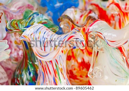Traditional glass work for sale in Murano, Venice, Italy - stock photo
