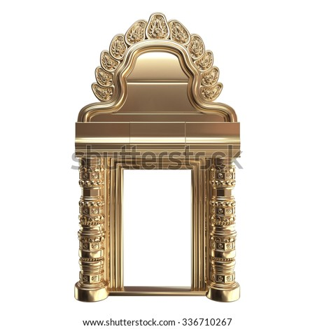 Traditional Gold Indian Column Arc Isolated on White. 3d rendering. - stock photo