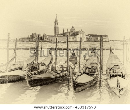 Traditional gondolas with the bell tower of the Saint Giorgio Maggiore Church on background (view from San Marco embankment) - Venice, Italy (stylized retro) - stock photo