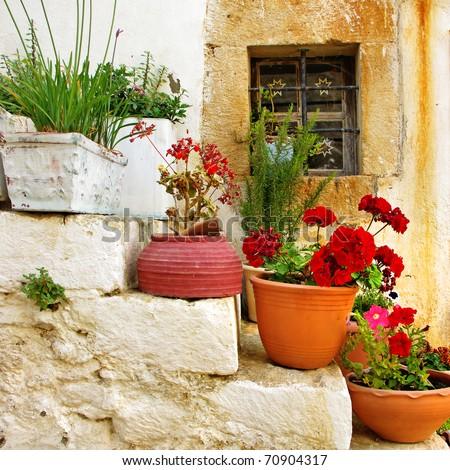 traditional Greece series - village - stock photo