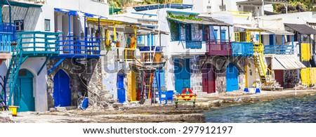 Traditional Greece-  village Klima on Milos island - stock photo