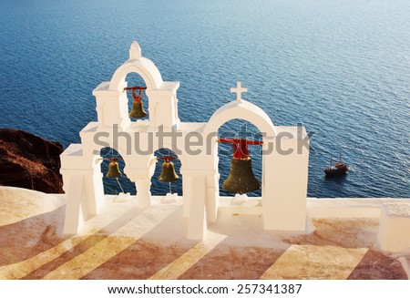 Traditional Greek bell tower in the village of Oia. Santorini. Greece. - stock photo