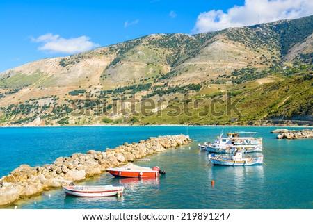 Traditional greek fishing boats in port of Zola village, Kefalonia island, Greece - stock photo