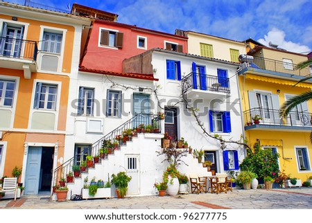 Traditional Greek fishing village of Parga - stock photo