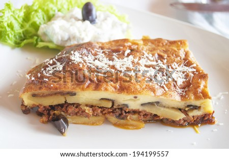 Traditional Greek food - Moussaka - stock photo